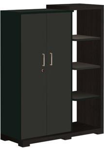 Armário 2 Portas Com 3 Prateleiras Externas, Terrano/Preto, Techno