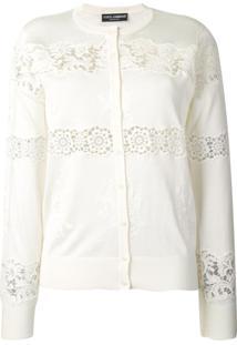 Dolce & Gabbana Cardigan Com Renda - Branco
