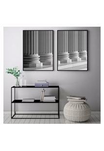 Quadro Oppen House 70X100Cm Arquitetura Pilares Corredores Construçáo Decorativo Interiores Sala De Estar Quartos Moldura Preta Com Vidro