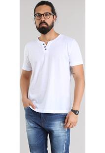Camiseta Básica Com Botões Branca