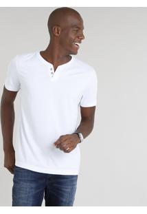 Camiseta Masculina Básica Com Botões Manga Curta Gola Careca Branca