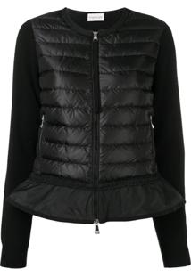 Moncler Puffer Jacket With Ruffle - Preto