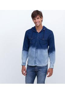 Camisa Degradê Em Jeans Com Capuz