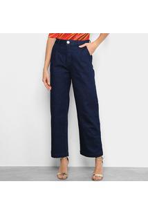 Calça Jeans Morena Rosa Alfaiataria Cós Alto E Bolso Faca Feminina - Feminino-Azul Escuro