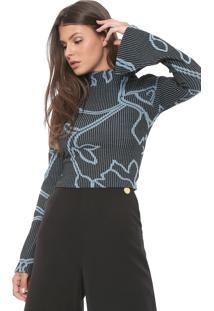 Blusa Cropped Forum Canelada Estampada Preta/Azul