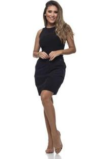 Vestido Clara Arruda Recortes Feminino - Feminino-Preto