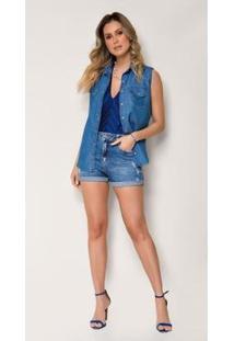 Bermuda Jeans Express Meia Coxa Solange - Feminino-Azul