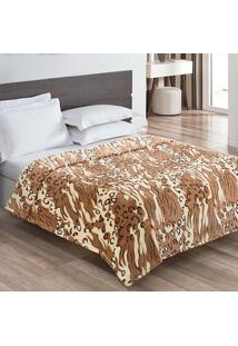 Cobertor / Manta Casal Microfibra Flanel Animalprint Brown - 200 Gramas/M2