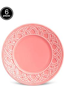 Conjunto 6Pçs Pratos De Sobremesa Porto Brasil Cestino Rosa