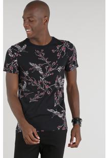 Camiseta Masculina Estampada Floral Manga Curta Gola Careca Preta