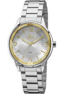 Relógio Allora Facetados Flor Da Pele - Feminino-Prata