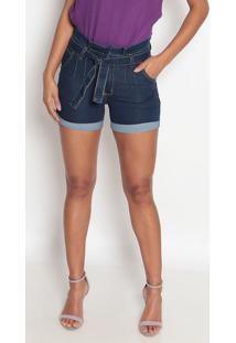 Bermuda Jeans Cós Alto Com Cinto- Azul- Fio Brasilfio Brasil