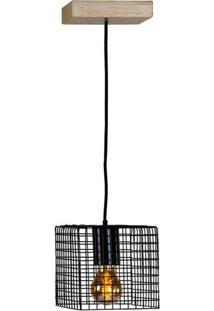 Luminaria Pendente Ogy Tela Quadrada Caixa Multilaminada Cor Preto 0,15 Cm (Alt) - 54127 Sun House