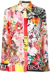 Versace Blusa Floral Com Logo - Rosa
