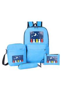 4Pcs Mulheres Estudantes Nylon Mochila Escolar + Crossbody Bag + Clutch Bag + Pen Bag
