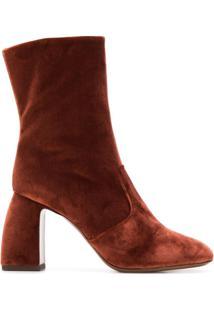 L'Autre Chose Ankle Boot Urban Glam De Veludo - Marrom