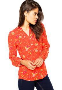 Camisa Manga Longa Enfim Floral Vermelha