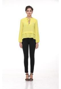 Camisa Clara Arruda Decote Laço Feminina - Feminino-Amarelo