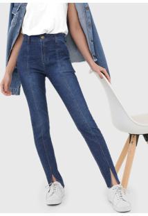 Calça Jeans Dzarm Skinny Recortes Azul
