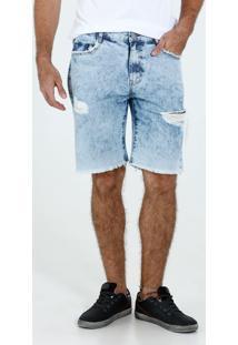 Bermuda Masculina Jeans Puídos Marisa