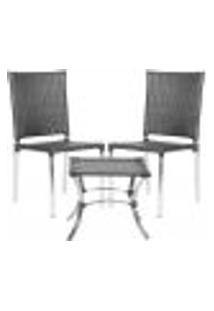 Jogo Cadeiras 2Un E Mesa De Centro Blumenau Para Edicula Jardim Area Varanda Descanso - Preto