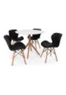 Conjunto Mesa De Jantar Maitê 80Cm Branca Com 4 Cadeiras Eames Eiffel Slim - Preta