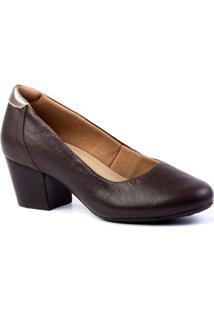 Scarpin Feminino 278 Em Couro Doctor Shoes - Feminino-Café
