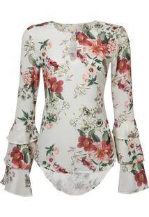 Camisa Ml Babados Estampa Floral (Estampado Floral, 36)