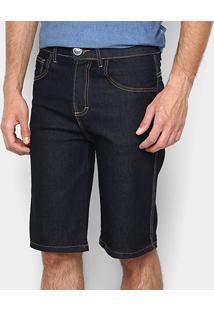 Bermuda Jeans Zamany Básica Elastano Pesponto Ocre Masculina - Masculino