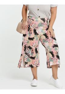 Calça Feminina Pantacourt Estampa Folhas Plus Size