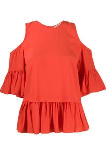 Twin-Set Blusa Com Acabamento De Babados - Vermelho