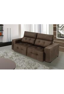 Sofa Firence 2,30 Mts Retrátil E Reclinável Tecido Suede Café - Moveis Marfim