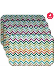 Jogo Americano Love Decor Wevans Retro Zig Zag Colorful Kit Com 4 Pçs