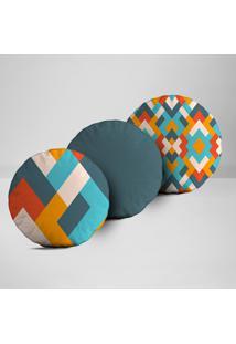 Kit 3 Almofadas Redondas Abstrato