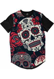 Camiseta Bsc Longline Caveira Mexicana Rosas Sublimada Prera Azul Marinho