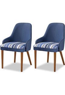 Cadeira De Jantar Em Madeira De Tauari Kentucky Kit 2 Cadeiras Cor Castanho Estofado Veludo Azul 4.2.891