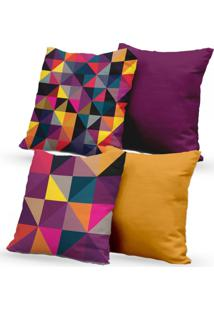 Kit 4 Capas De Almofadas Decorativas Own Triângulos Coloridos E Lisas Roxo 45X45 - Somente Capa