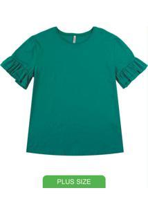 Blusa Com Babados Em Meia Malha Verde