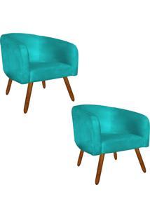 Kit 02 Poltronas Decorativa Stella Suede Azul Tiffany Pés Palito - D'Rossi