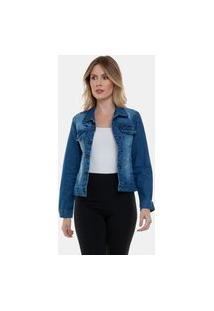 Jaqueta Jeans Feminina Longa Fashion Iii Azul Escuro