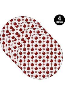 Capa Para Sousplat Mdecore Natal Bolas De Natal Branco 4Pçs