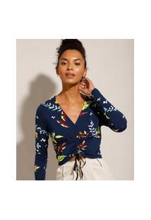 Blusa Cropped Estampada Floral Com Franzidos Manga Bufante Decote V Azul Marinho