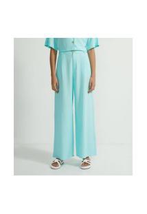 Calça Pantalona Em Viscolinho Com Bolsos E Pregas Frontais | Blue Steel | Verde | G