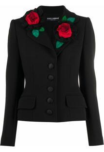 Dolce & Gabbana Jaqueta Com Aplicação Floral - Preto