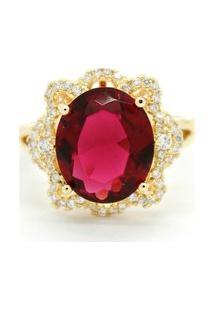 Anel Semi Joia Oval Cristal Vermelho - Feminino-Dourado