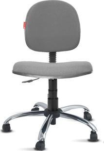 Cadeira Executiva Giratória Cromada Crepe Cinza