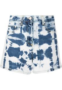 Msgm Short Jeans Com Estampa Tie-Dye - Azul