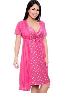 Jogo Luna Cuore De Camisola Com Robe Gestante 026 - Feminino-Pink