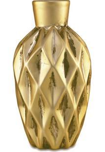 Vaso Rãºstico Em Relevo- Dourado- 13,5Xã˜7Cm- Martmart