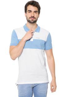 Camisa Polo Wrangler Reta Recortes Branca/Azul